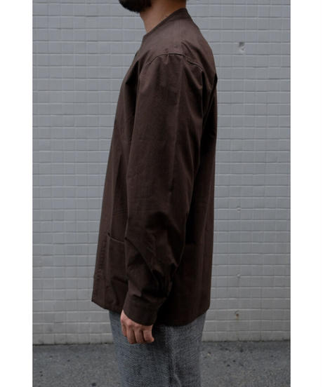 THE HINOKI / Cotton Parachute Cloth Stand Up Collar Shirt / col.OLIVE BROWN