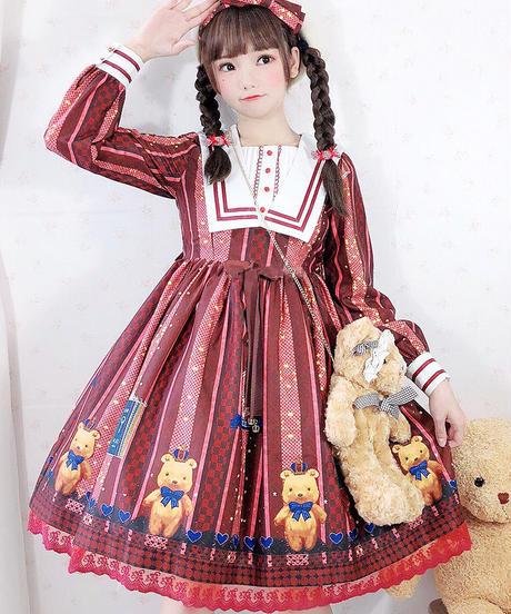 【d.Alice】くまちゃんワンピース(レッド)