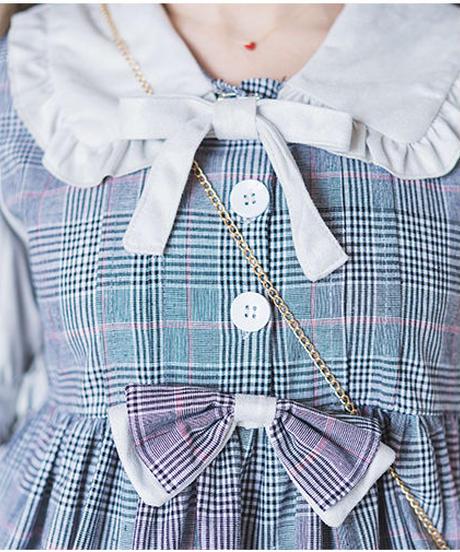 【d.Alice】チェック柄ワンピース(グレー・ブラウン)