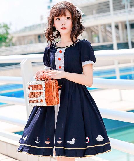 【d.Alice】ネイビーワンピース 赤ボタン