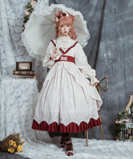 【d.Alice】赤×白 ヴィンテージ ロングワンピース