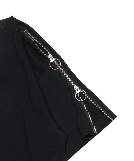 袖ZIPプリントTシャツ(BLK)