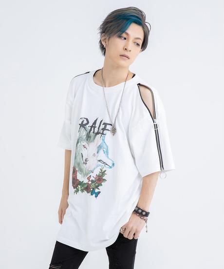 袖ZIPプリントTシャツ(WHT)