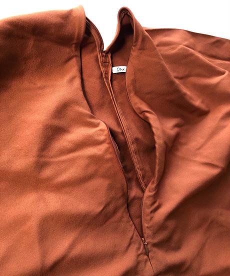 ポリエステル縮絨 Zip Onepiece  / Brown