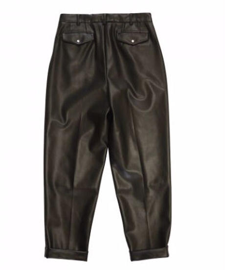JieDa FAKE LEATHER 2TUCK TAPERED PANTS Jie-21S-PT04-D