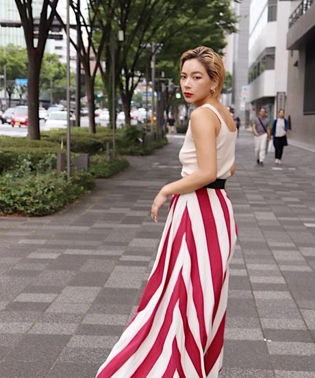 マキシ丈Aラインスカート