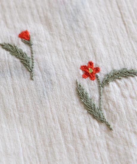 アリ刺繍コットンパンツ
