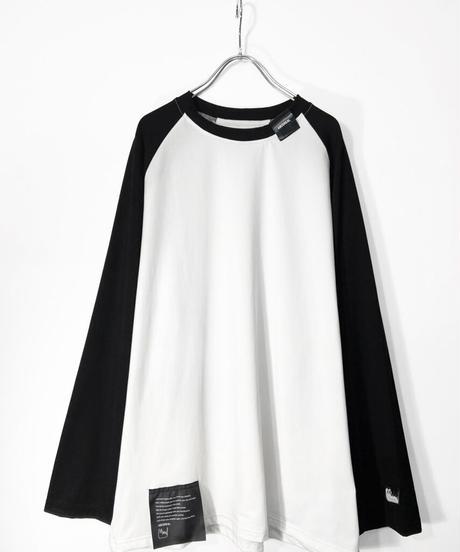 オーバーサイズラグランTシャツ 衿黒