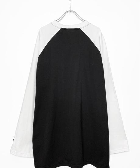オーバーサイズラグランTシャツ 衿白
