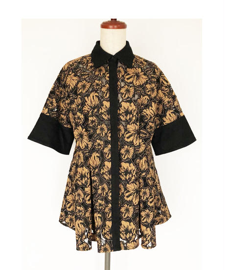 T-02 Flower Lace Flare Shirt