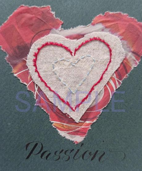 Passion(情熱)ハートモチーフ刺繍コラージュカード(小さなアート)