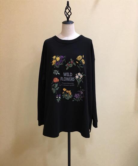 【SUPER HAKKA】ロゴ&ウィンターフラワー刺繍カットソー(ブラック)