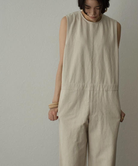 onepiece-07005 LINEN MIXED BACK BUTTON ALL-IN-ONE