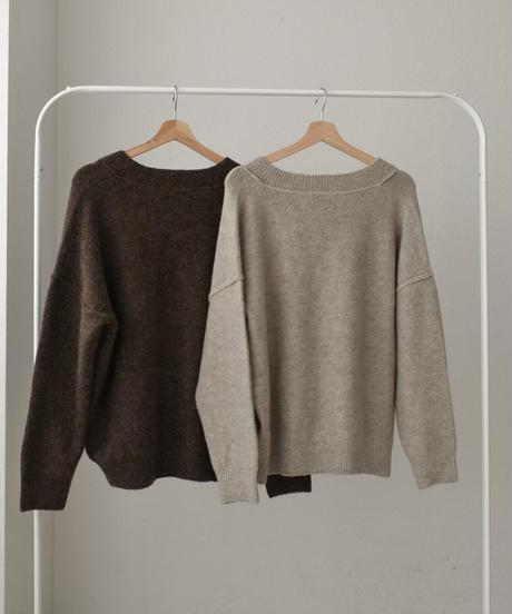 knit-02099 WOOL BLEND V-NECK OUT SEAM DESIGN KNIT