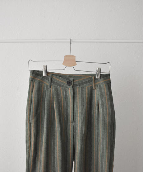 bottoms-02098 GREEN STRIPED STRAIGHT PANTS