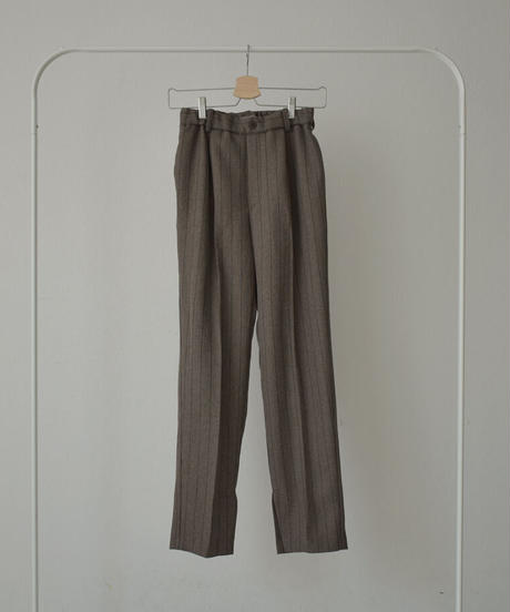 bottoms-04035 MADE IN JAPAN STRIPED TUCK PANTS BRUSHED LINING