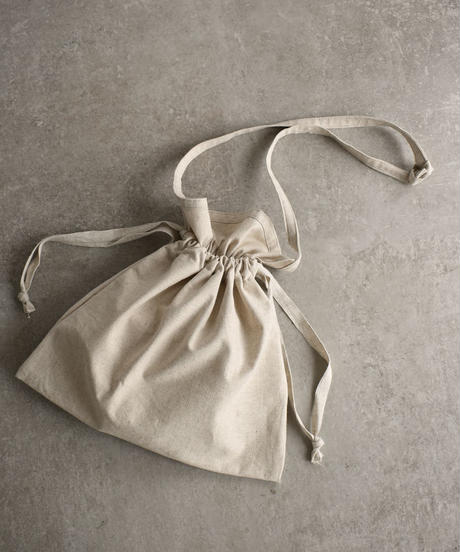 bag2-02502 MADE IN JAPAN RED CROSS APRON DRAWSTRING BAG  LINEN FABRIC