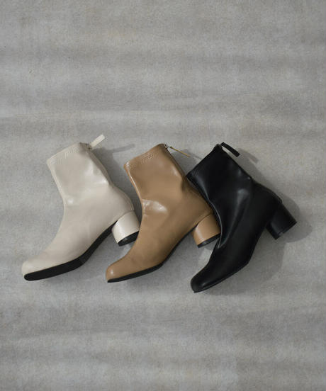 shoes-02139 CHUNKY HEEL CENTER SEAM SHORT BOOTS