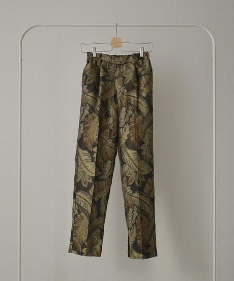 bottoms-04036 MADE IN JAPAN IMPORTED JACQUARD FABRIC SLIT TUCK PANTS BRUSHED LINING