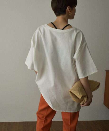 tops-04093  MADE IN JAPAN LINEN MIXED CANVAS LACE-UP PULLOVER
