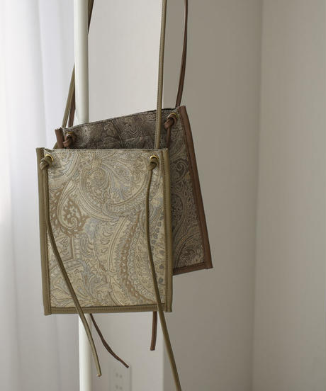 bag2-02545 MADE IN JAPAN PAISLEY PATTERN JACQUARD X ECO LEATHER POCHETTE