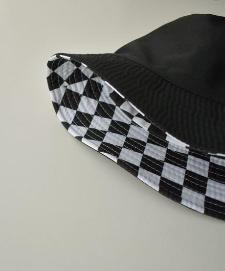 cap-02043 CHECKERED FLAG REVERSIBLE BUCKET HAT