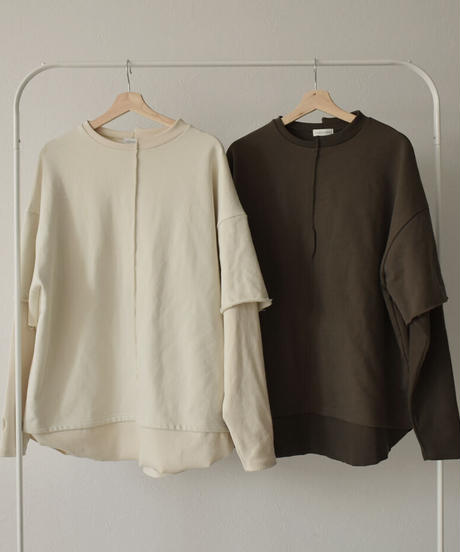 tops-04051 MADE IN JAPAN LAYERED STYLE SWITCHING SWEATSHIRT