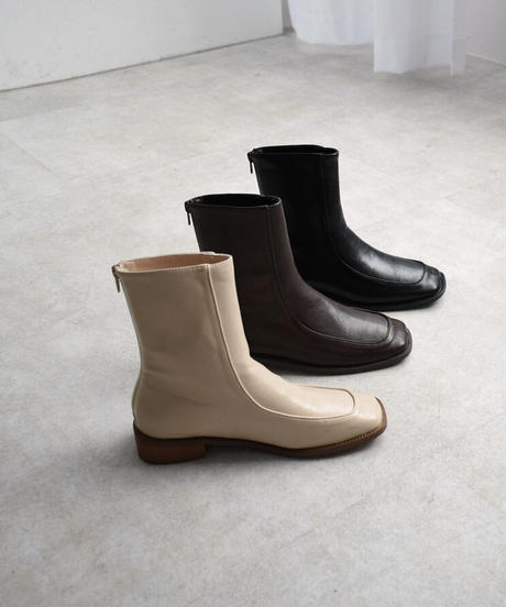 shoes-02117  BACK ZIP ANKLE FLAT BOOTS