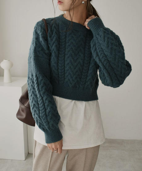 knit-02098 WOOL BLEND SHORT CABLE KNIT