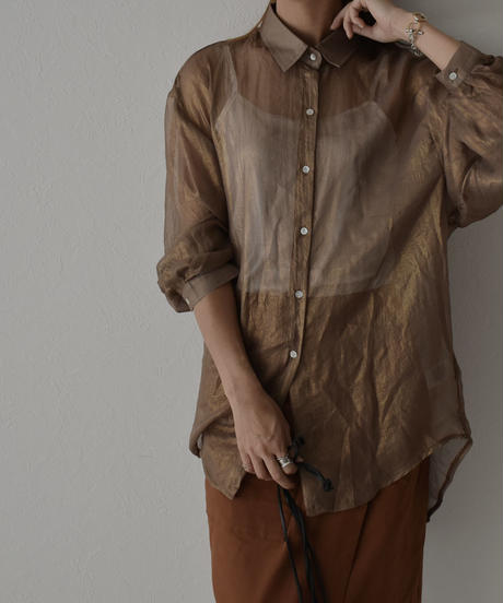 tops-02184 GLOSS SHEER SHIRT