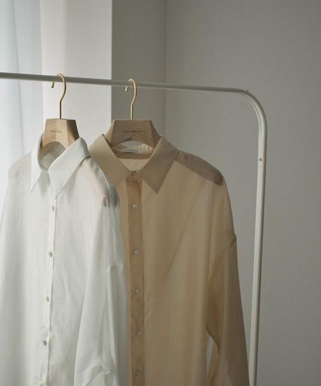 tops-02252 BACK SLIT SHEER SHIRT