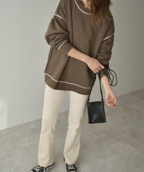 tops-02201 OUT SEAM SWEATER PULLOVER