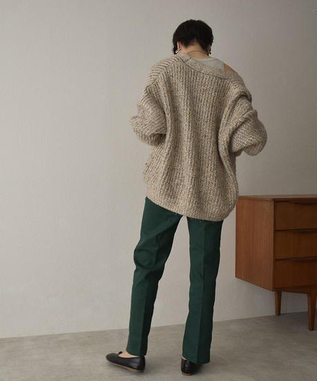 knit-02141 MIXED YARN TOGGLE BUTTON CARDIGAN