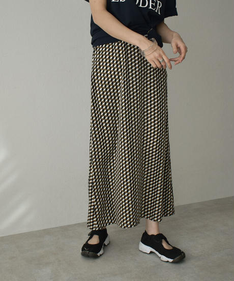 bottoms-04039 MADE IN JAPAN BLOCK PRINT LONG SKIRT