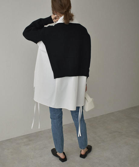 knit-02130 SIDE OPEN SHORT KNIT PULLOVER
