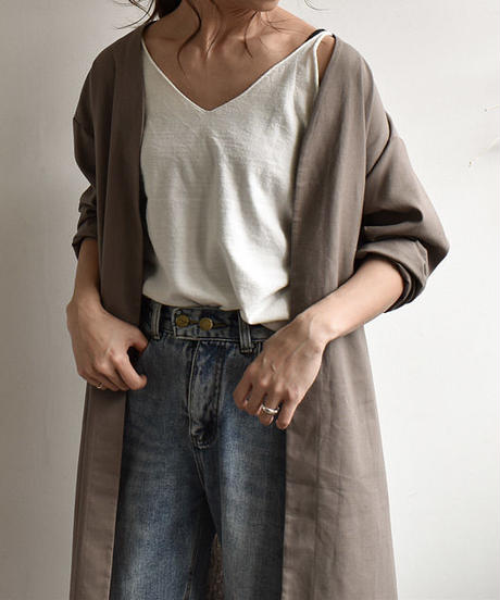 tops-04002 MADE IN JAPAN LINEN BLEND GOWN