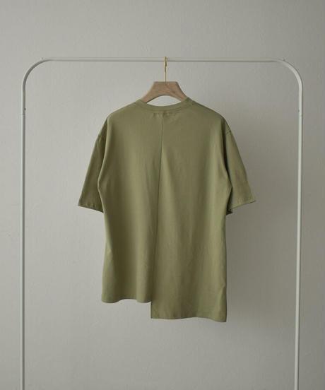 tops-02237 FRONT CUT DESIGN LOOSE T-SHIRT