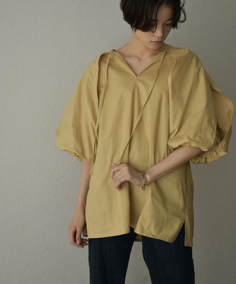 tops-04094  MADE IN JAPAN SHEETING 2WAY BALLOON SLEEVE BLOUSE