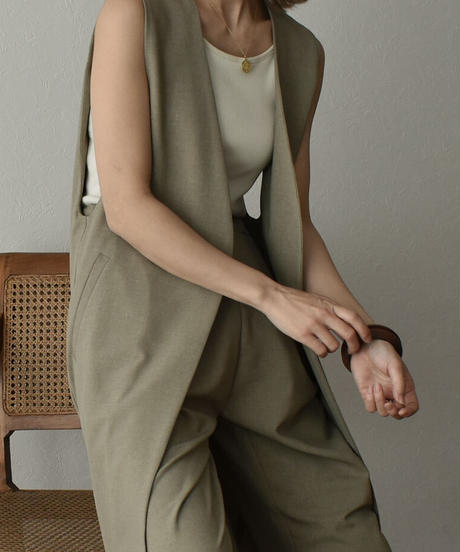 tops-04088 MADE IN JAPAN LINEN-LIKE ANTI-WRINKLE COLD CONTACT LONG VEST
