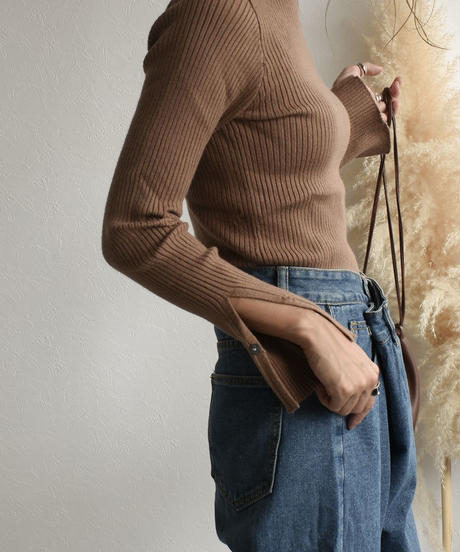 knit-02038 SLIT SLEEVE RIB TOPS