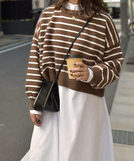 knit-02139 BACK BUTTON BORDER KNIT PULLOVER