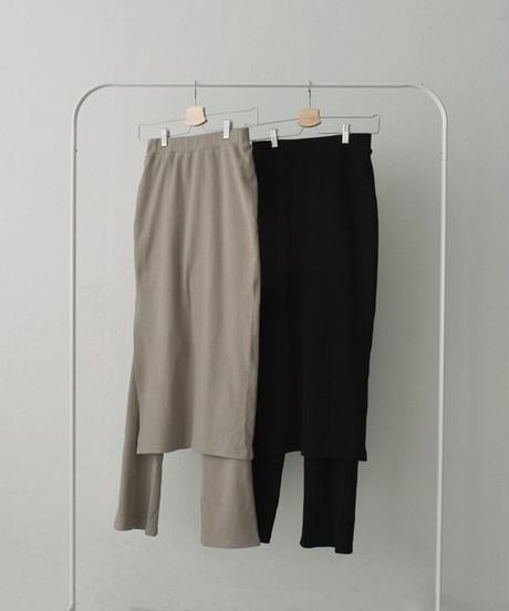 bottoms-04041 MADE IN JAPAN RIB LAYERED SKIRT PANTS