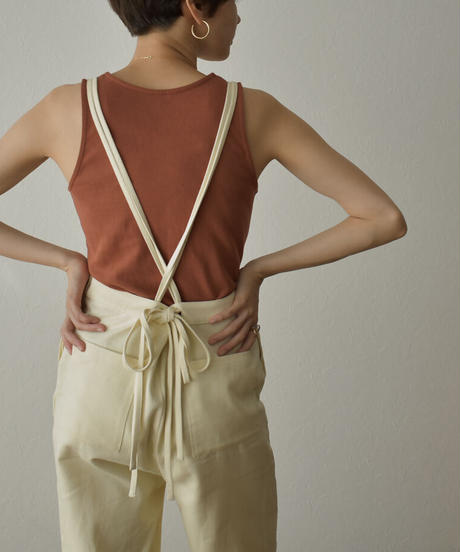 onepiece-07006 BACK RIBBON COTTON OVERALLS