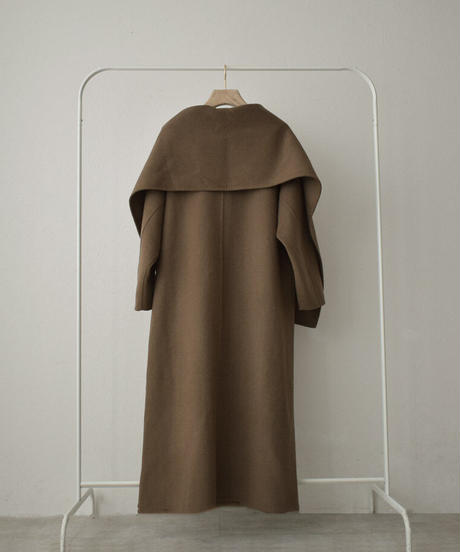 coat-13003 LONG WOOL REVER COAT WITH STALL