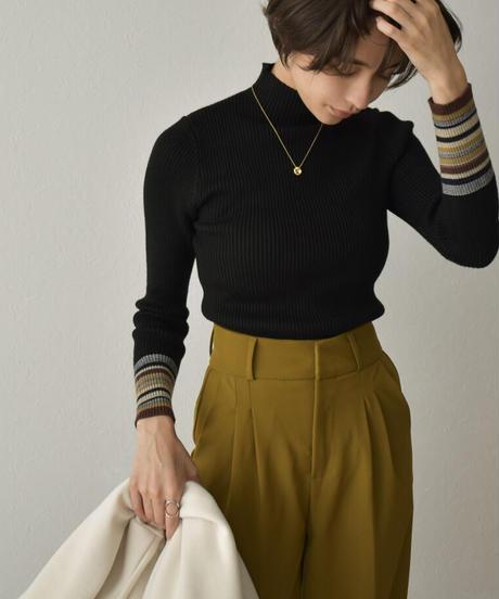 knit-02138 MULTI-BORDER SLEEVE TURTLE KNIT