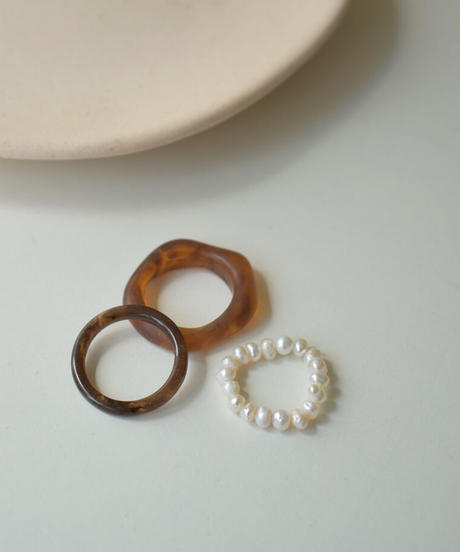 ring2-02140 MARBLE X FRESHWATER PEARL ASSORTED RING 3 PIECES