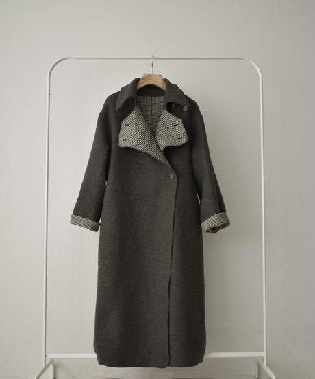 coat-13002 GUN CLUB CHECK×GRAY REVERSIBLE WOOL TRENCH COAT