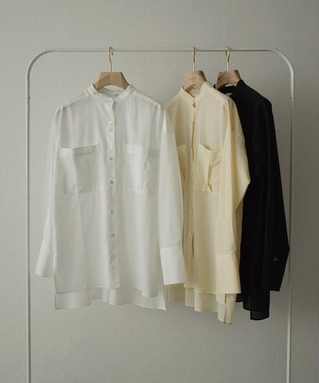 tops-04098 MADE IN JAPAN LINEN MIXED BIG POCKET SHEER SHIRT