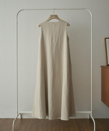 onepiece-07007 LINEN MIXED SIDE POCKET DRESS
