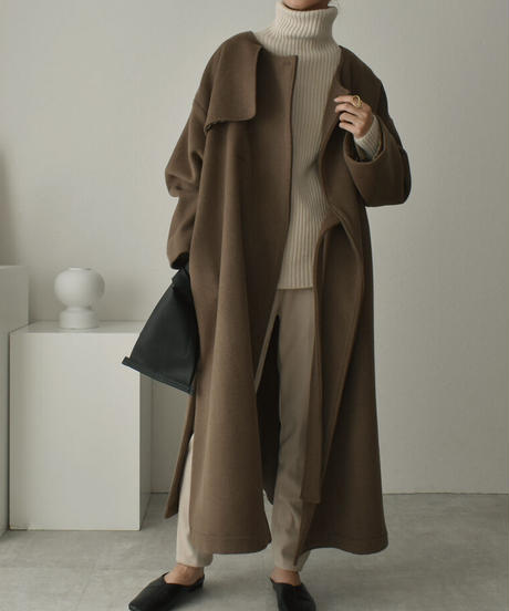 outer-04013 MADE IN JAPAN SIDE BELT NO COLLAR WOOL TRENCH COAT LINED